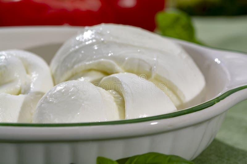 Tordu pour former un fromage ? p?te molle italien de mozzarella de treccia de tresse a servi avec le basilic et les tomates frais photographie stock