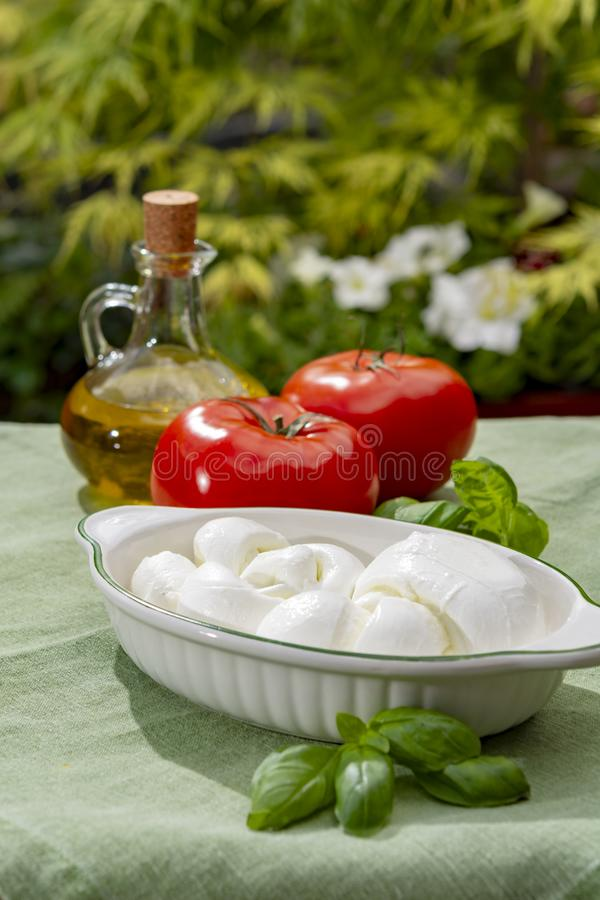 Tordu pour former un fromage ? p?te molle italien de mozzarella de treccia de tresse a servi avec le basilic et les tomates frais images stock