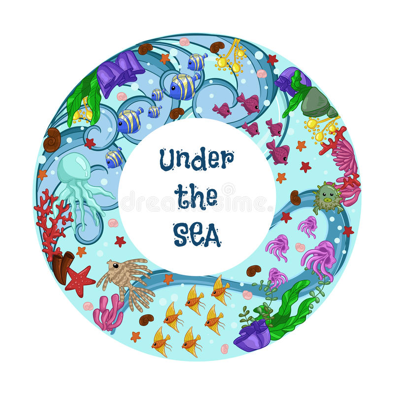 Tore avec l'espèce marine : poissons, méduses, étoiles de mer, coraux et algue Texte : sous la mer art d'aspiration de main illustration de vecteur