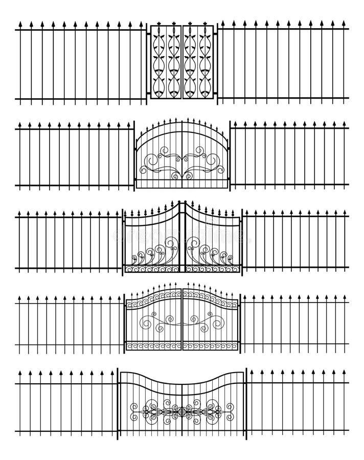 Tore und horizontales nahtloses des Eisenzauns stock abbildung