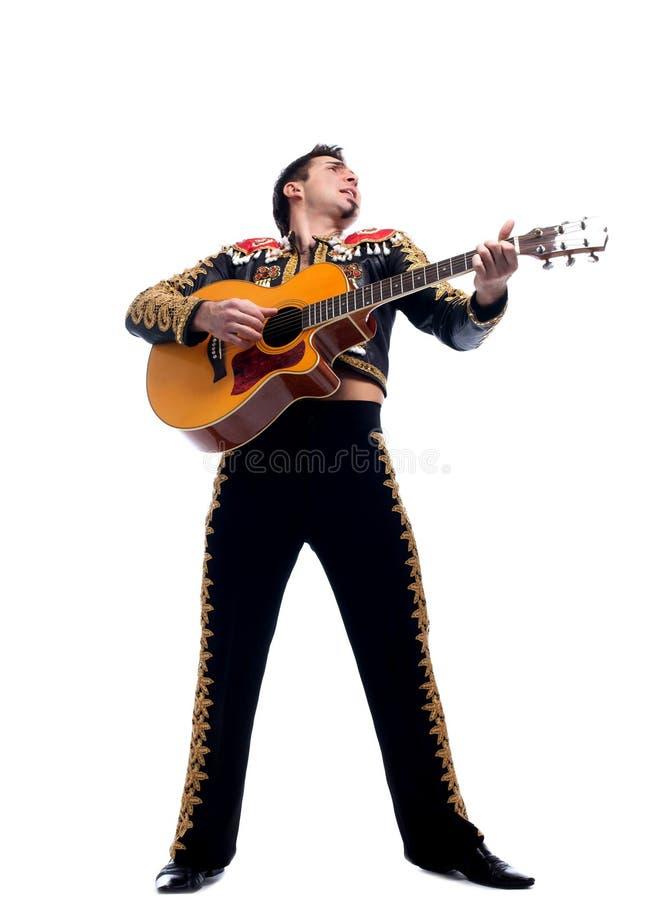 Toreador In Black Costume  Playing Guitar Royalty Free Stock Photos