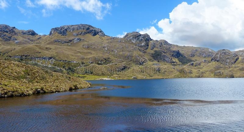 Toreadora lake in Cajas National Park, Ecuador stock photos