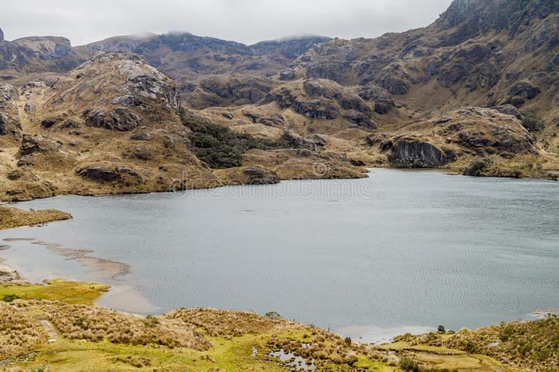 Toreadora lake in National Park Cajas royalty free stock photo