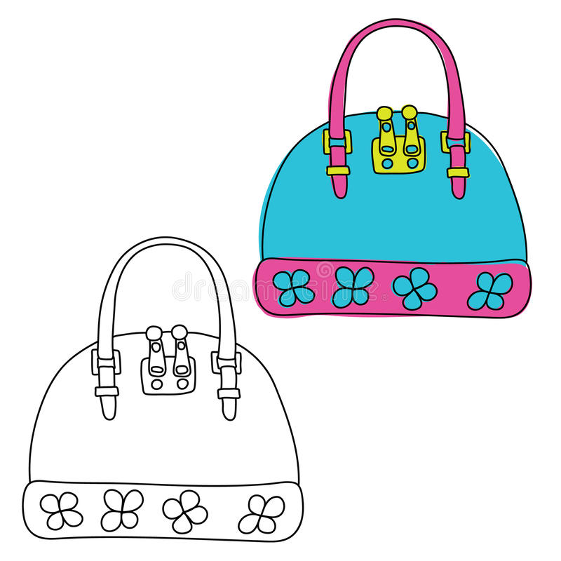 torebka Ręka rysujący doodle Czarny i biały i barwiona wersja ilustracja wektor