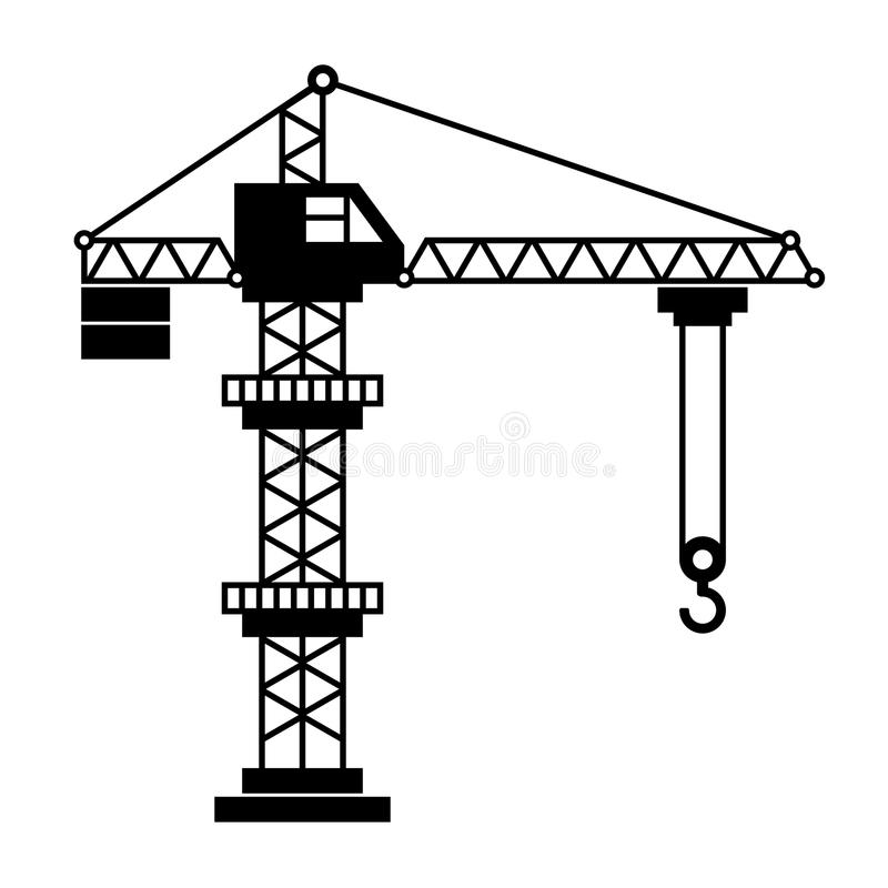 Toren Crane Icon op Witte Achtergrond Vector royalty-vrije illustratie