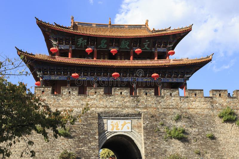 Toren in de oude stad van Dali China stock fotografie