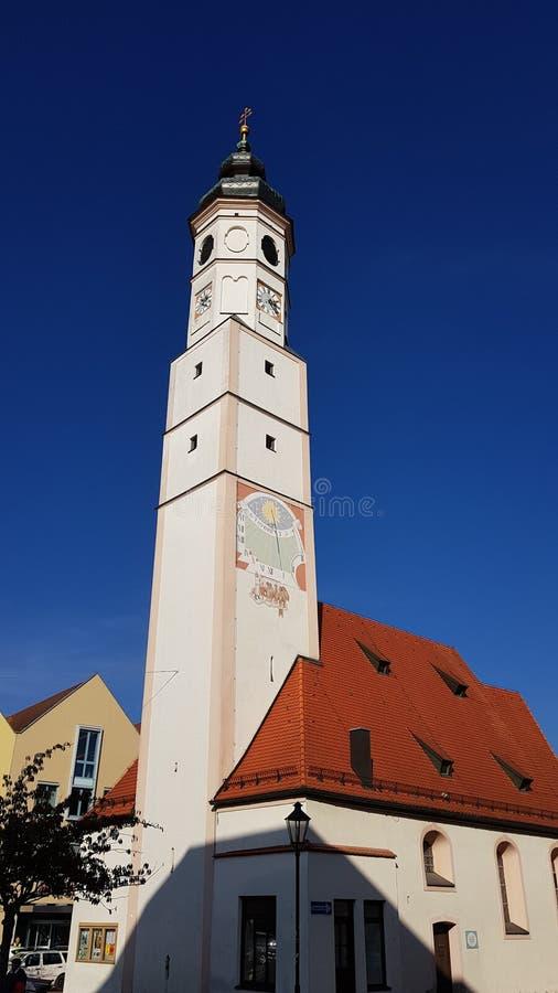 Toren in Dorfen, Beieren, Duitsland royalty-vrije stock afbeeldingen