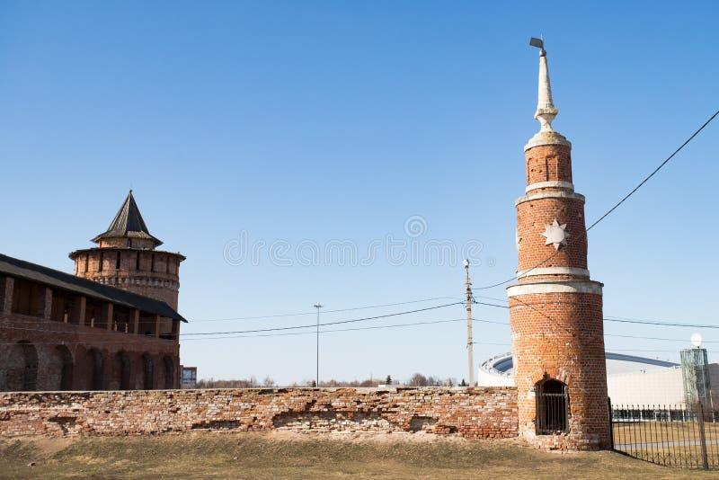 Toren Kloosteromheining With Marinkin Tower in Kolomna, Rusland stock foto's