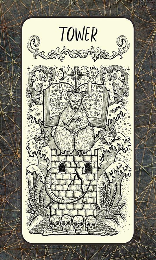 Toren Major Arcana Tarot Card vector illustratie