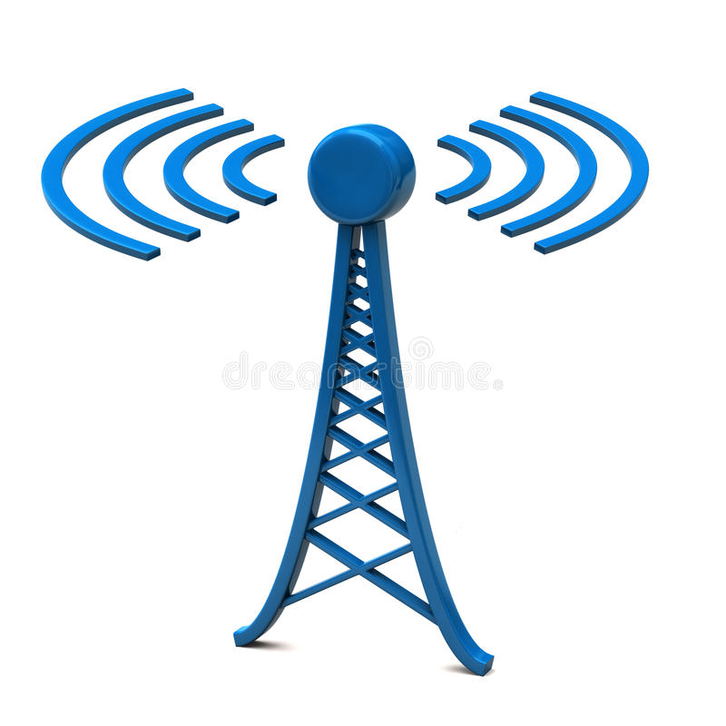 Toren met radiogolven stock illustratie