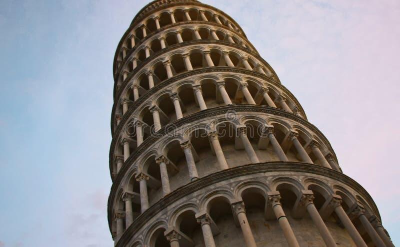 Toren Pisa in de avond stock afbeeldingen