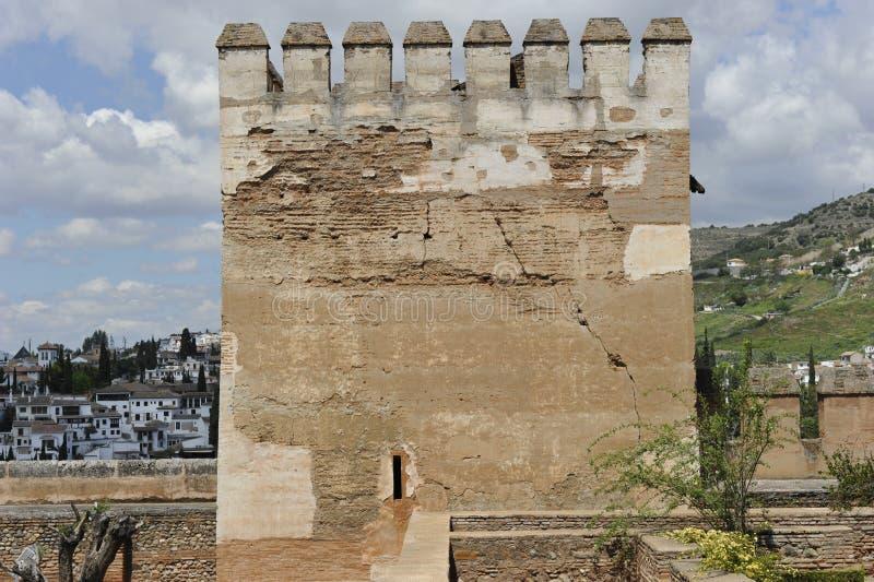 Toren van Alhambra Complex, Granada, Spanje royalty-vrije stock fotografie