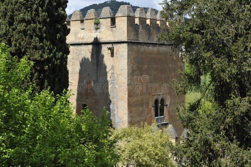 Toren van Alhambra Complex, Granada, Spanje royalty-vrije stock foto