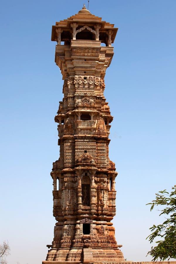 Toren van bekendheid binnen het fort Chittorgarh stock foto