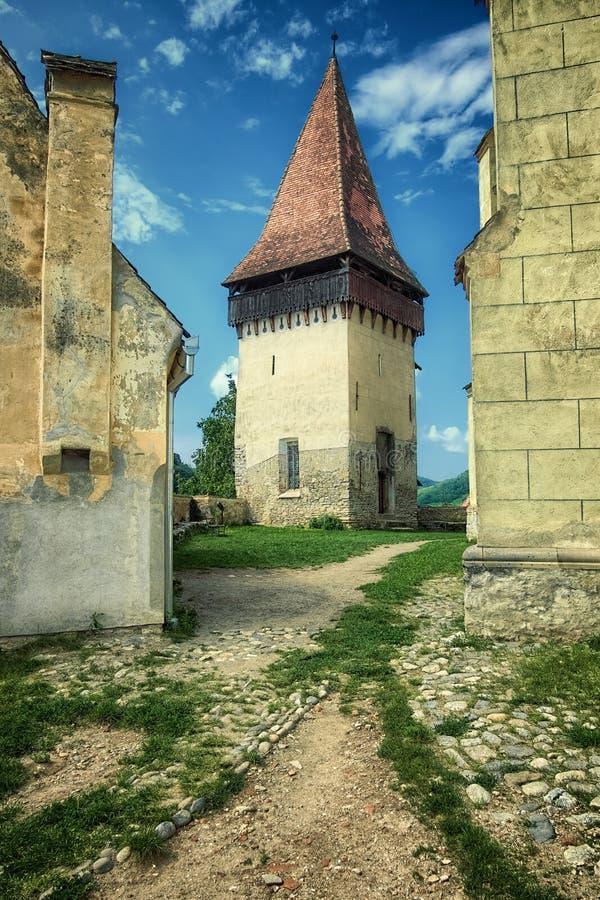 Toren van Biertan Versterkte Kerk in Transsylvanië, Roemenië stock afbeeldingen