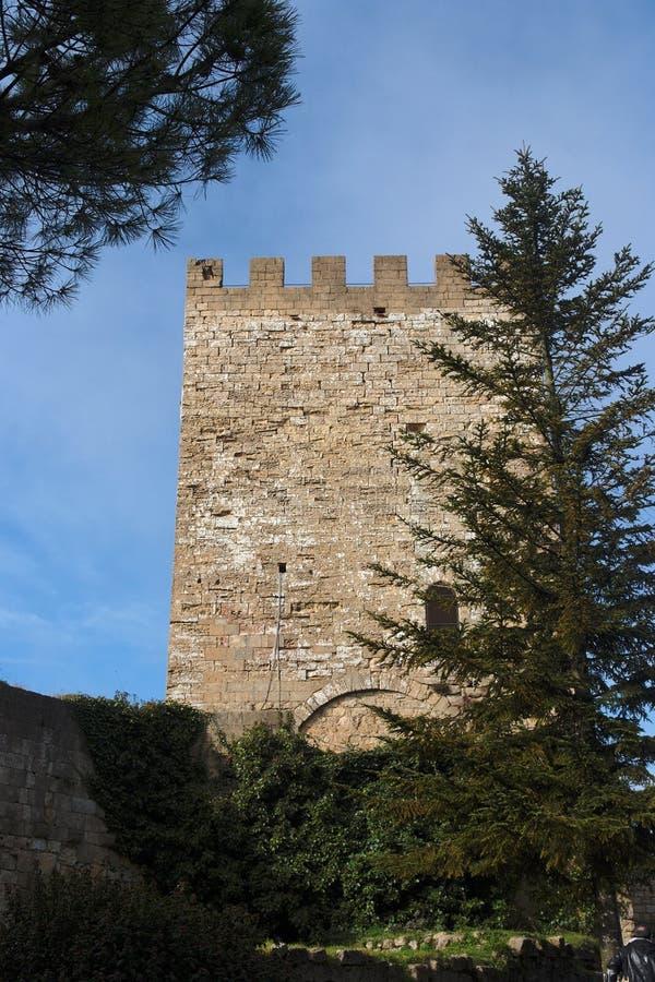 Toren van Castello Di Lombardia middeleeuws kasteel binnen stock foto
