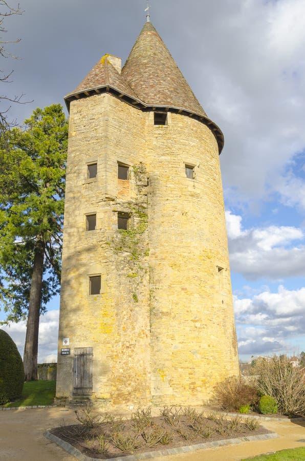 Toren van Charle le Temeraire, Charolles, Bourgondië, Frankrijk, saone stock foto's
