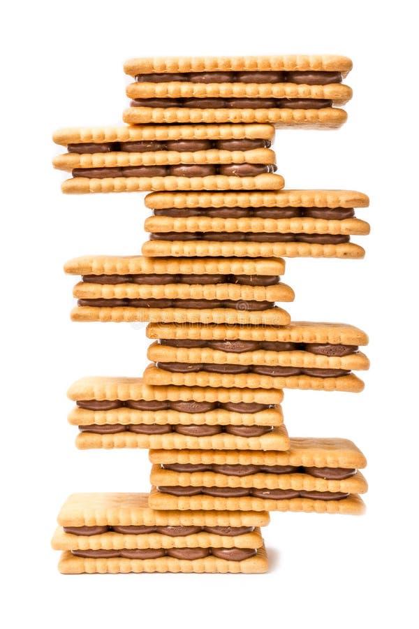 Toren van chocolade de Room Gevulde Koekjes stock foto's
