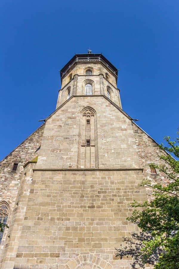 Toren van de Blasius-kerk in historische stad Hann Muenden royalty-vrije stock foto's