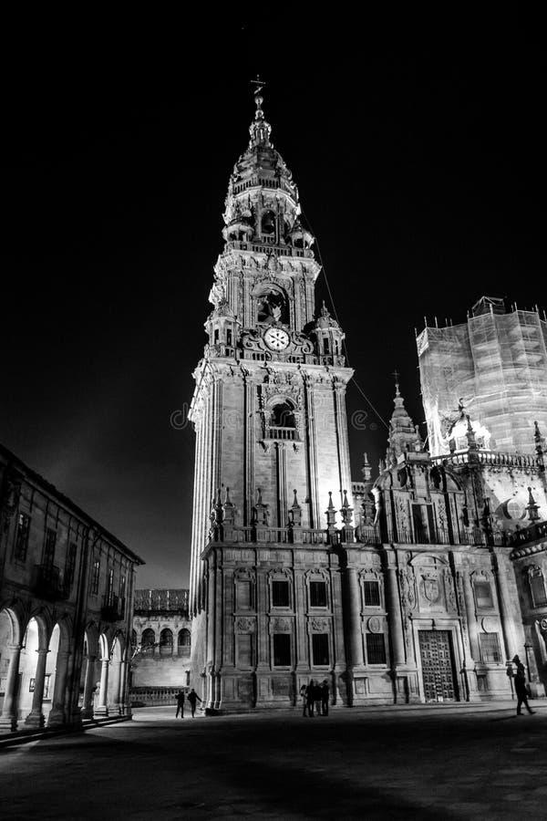 Toren van de Kathedraal in Santiago de Compostela stock foto