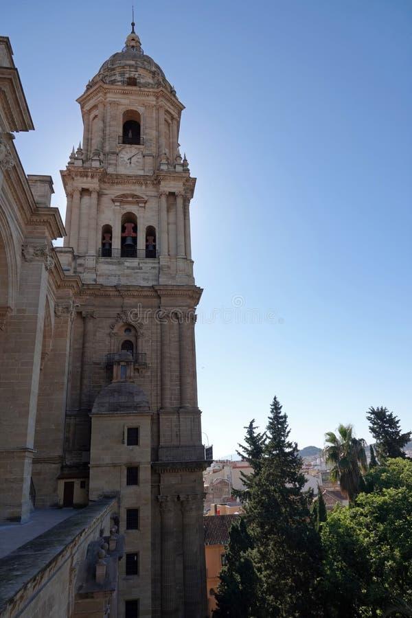 Toren van de Kathedraal in stad van Malaga in Andalusia, Spanje stock foto's