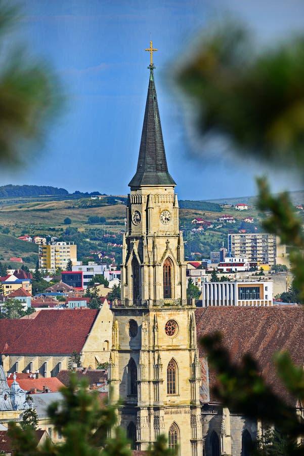 Toren van de Kerk van Heilige Michael van cluj-Napoca royalty-vrije stock foto's