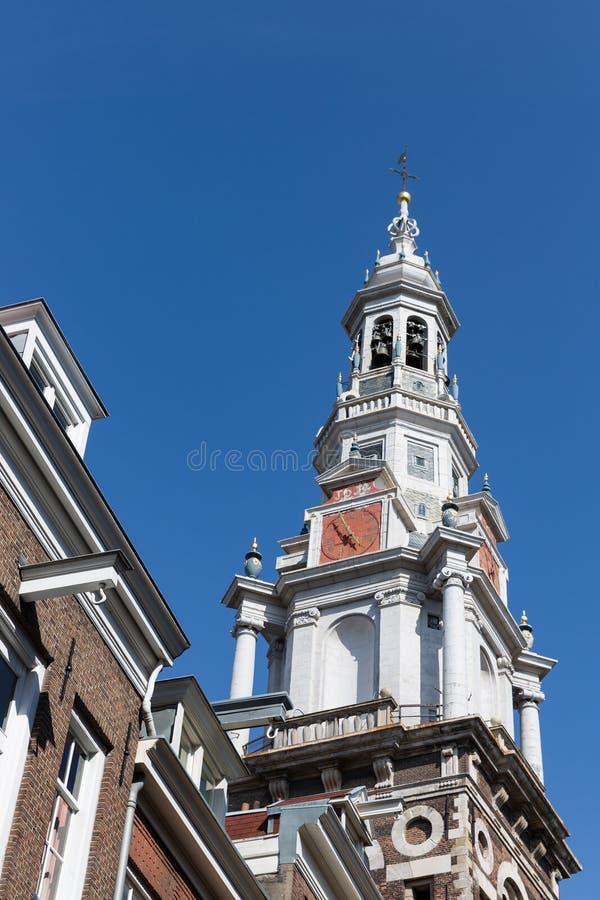 Toren van de Kerk Zuiderkerk van Amsterdam stock foto