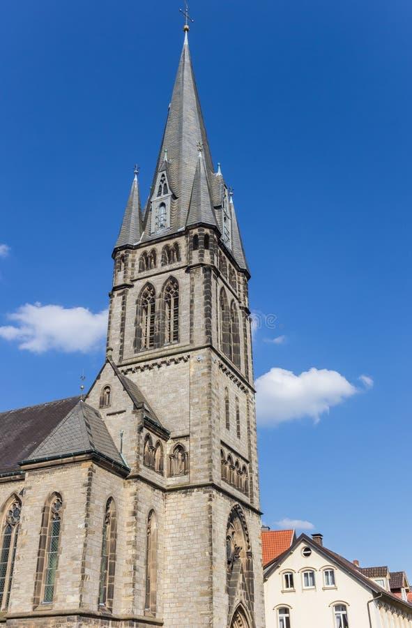 Toren van de Martin Luther-kerk in het centrum van Detmold stock afbeelding