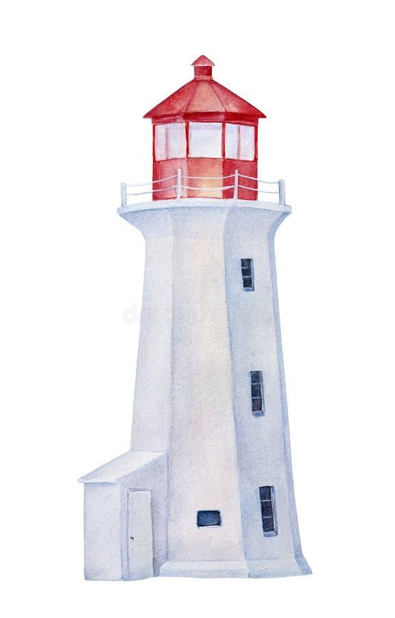 Toren van de waterverf de rode en witte vuurtoren royalty-vrije illustratie