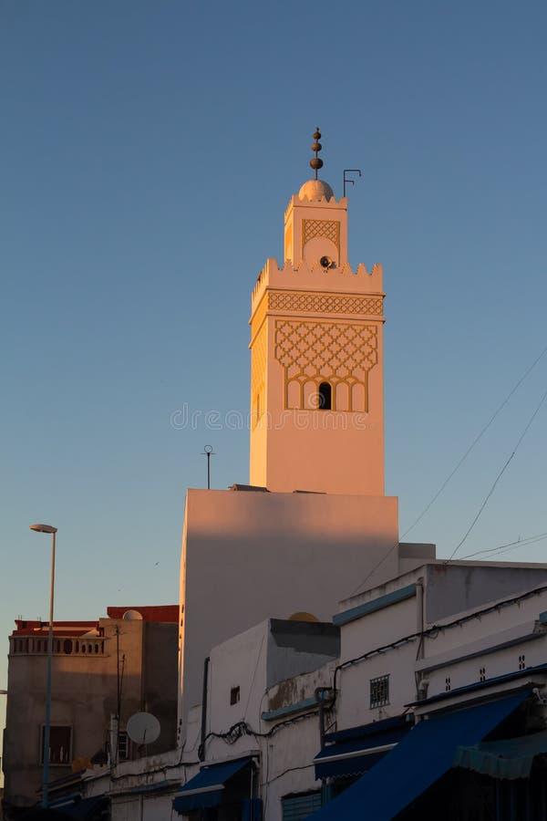 Toren van een moskee in Safi, Marokko stock afbeelding