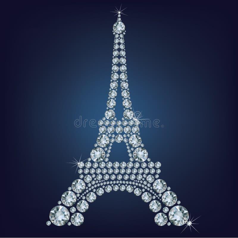 Toren van Eiffel - Parijs maakte omhoog heel wat diamanten stock illustratie
