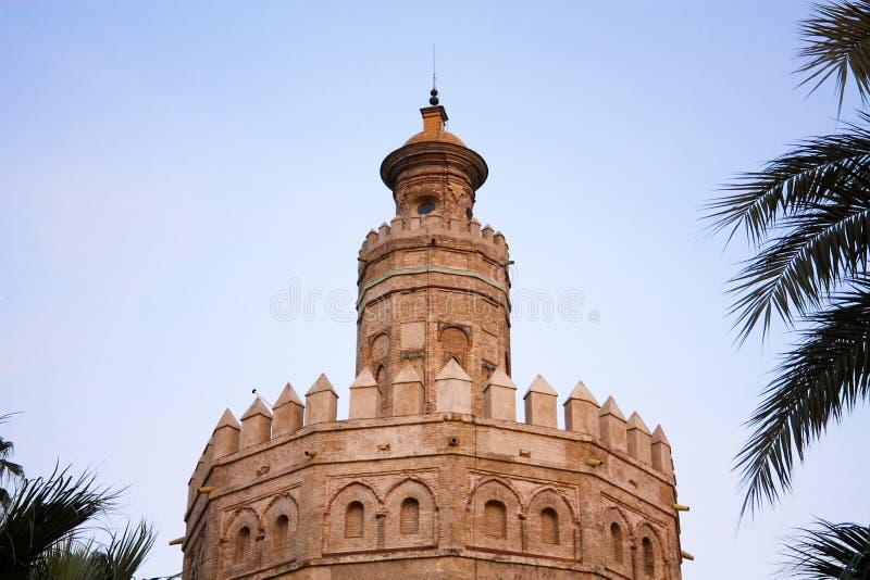 Toren van goud. Zonsondergang in Sevilla. royalty-vrije stock foto