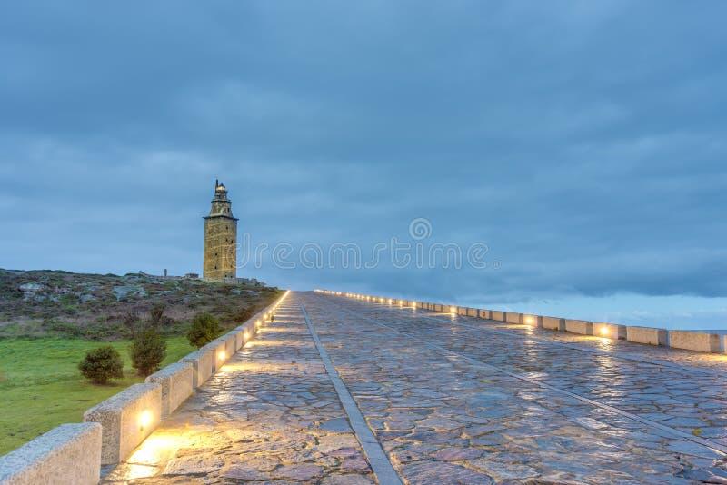 Toren van Hercules in een Coruna, Galicië, Spanje. stock afbeelding