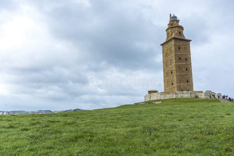 Toren van Hercules in een Coruna, Galicië, Spanje stock foto