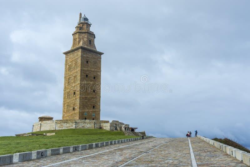 Toren van Hercules in een Coruna, Galicië, Spanje royalty-vrije stock foto