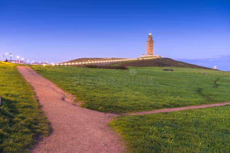 Toren van Hercules in een Coruna, Galicië, Spanje stock afbeeldingen