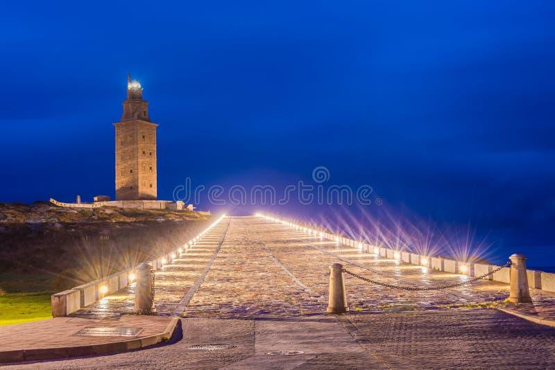 Toren van Hercules in een Coruna, Galicië, Spanje royalty-vrije stock afbeeldingen
