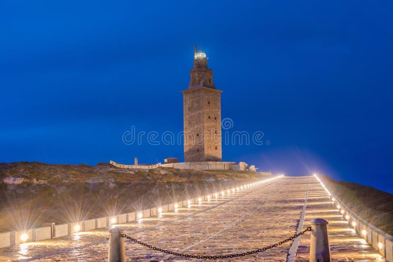Toren van Hercules in een Coruna, Galici?, Spanje stock foto's