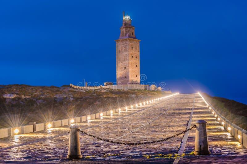 Toren van Hercules in een Coruna, Galici?, Spanje stock fotografie