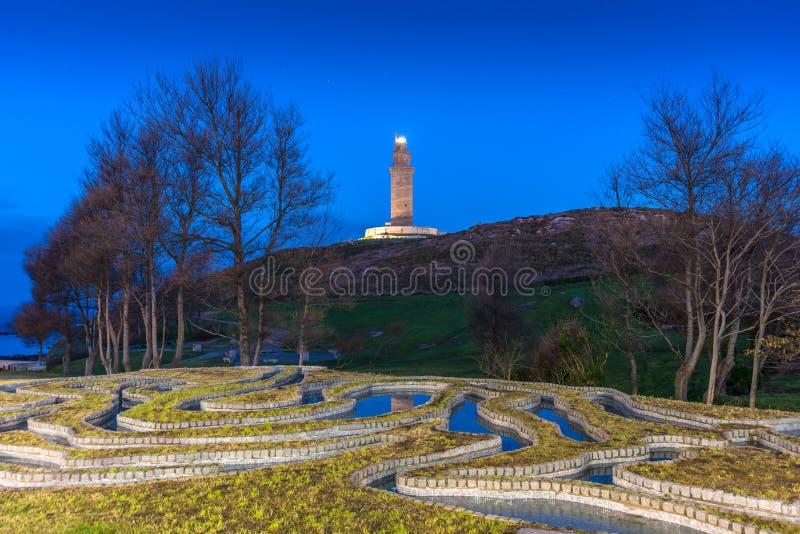 Toren van Hercules in een Coruna, Galici?, Spanje royalty-vrije stock afbeelding