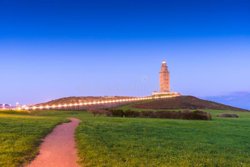 Toren van Hercules in een Coruna, Galici?, Spanje stock foto