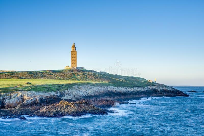 Toren van Hercules in een Coruna, Galici?, Spanje royalty-vrije stock foto's