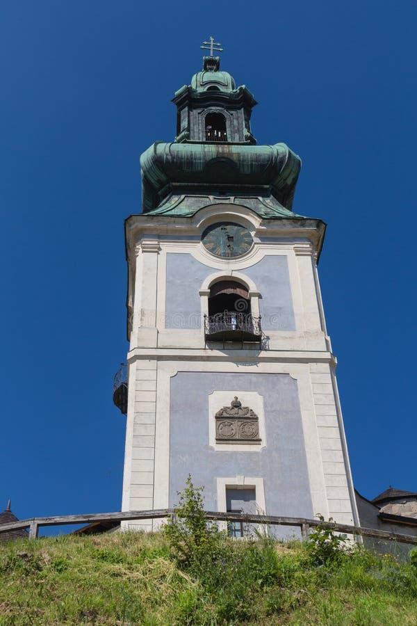 Toren van het Oude Kasteel, Banska Stiavnica, Slowakije stock foto's