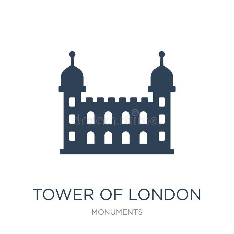 toren van het pictogram van Londen in in ontwerpstijl toren van het pictogram van Londen op witte achtergrond wordt geïsoleerd di vector illustratie