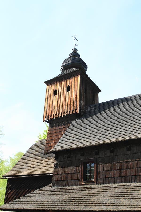 Toren van houten kerk van Anna van Vetrkovice stock afbeelding