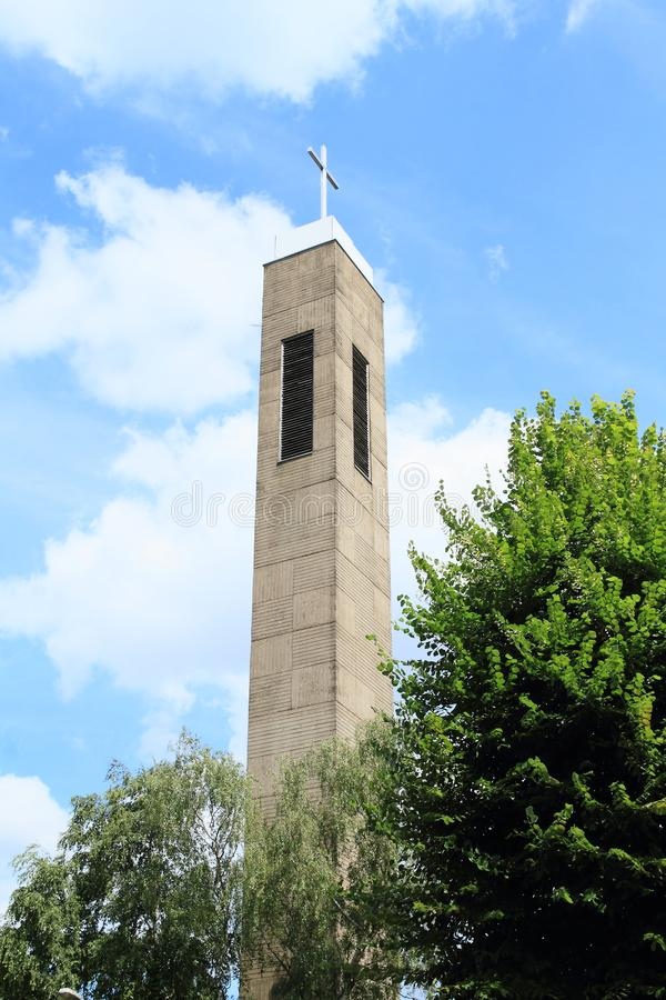 Toren van kerk in Essen stock afbeeldingen