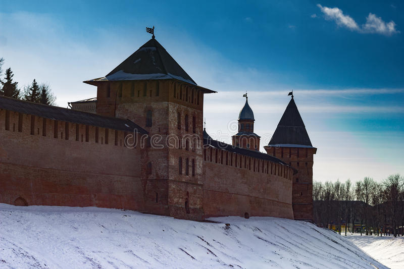 Toren van Novgorod het Kremlin, Historische Monumenten van Novgorod en Omgeving, Rusland royalty-vrije stock foto