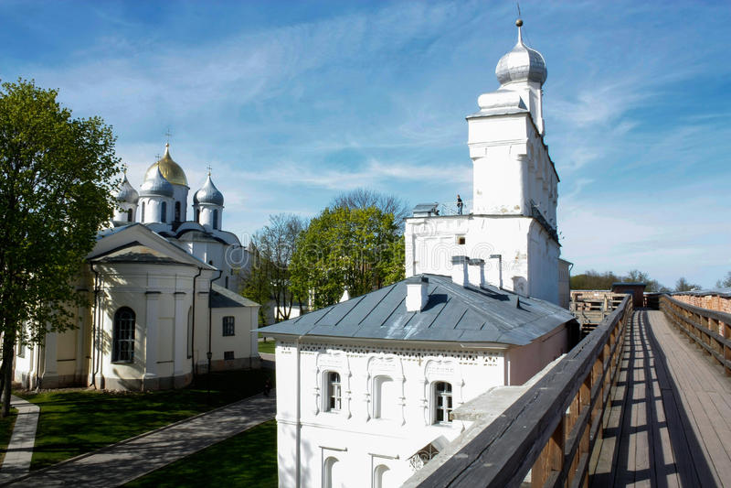 Toren van Novgorod het Kremlin, Historische Monumenten van Novgorod en Omgeving, Rusland stock foto