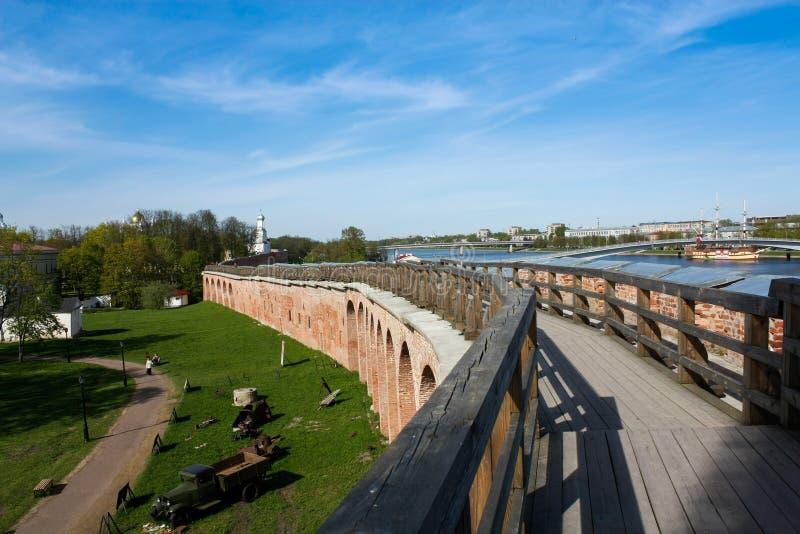 Toren van Novgorod het Kremlin, Historische Monumenten van Novgorod en Omgeving, Rusland royalty-vrije stock foto's