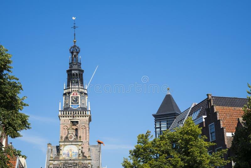 Toren van oude Waag, de bouw, Alkmaar, Nederland royalty-vrije stock fotografie